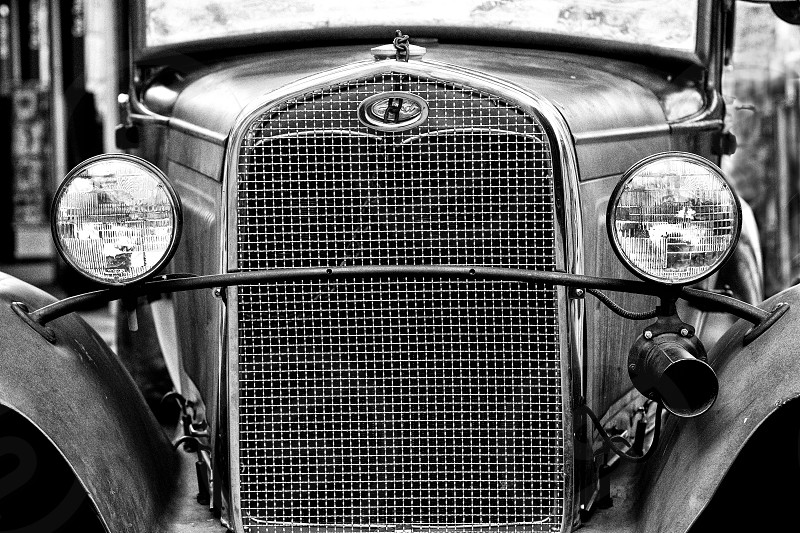 Old Ford vintage car car auto vintage auto black and white photo