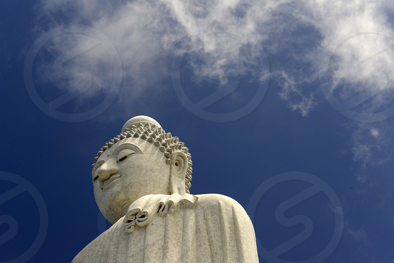 the big Buddha at the Wat Chalong on the Phuket Island in the south of Thailand in Southeastasia.