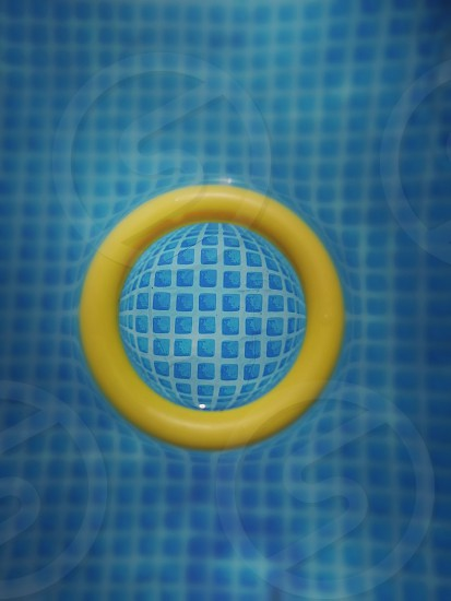 a yellow circle in deep water. photo