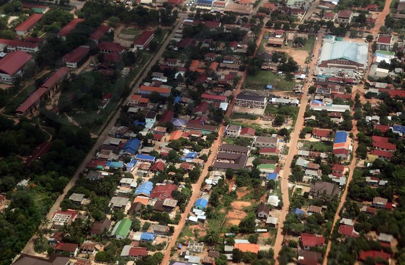 Ein Stadtteil von Savannahet aus der Luft in zentral Laos an der Grenze zu Thailand in Suedostasien. photo
