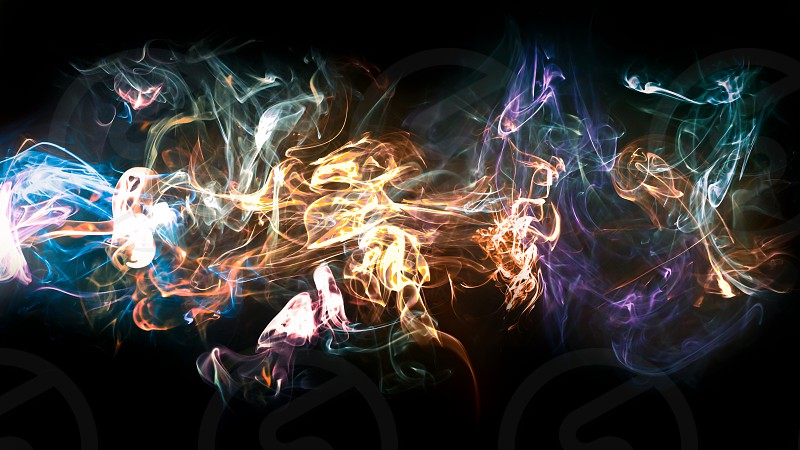 Serveral colored smoke photos combined into one. photo
