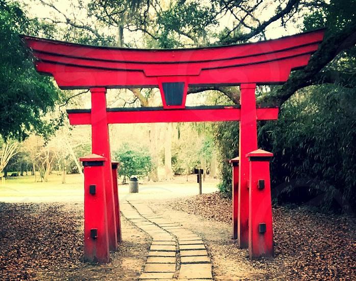 Japanese arch at Jungle Garden Avery Island LA. photo