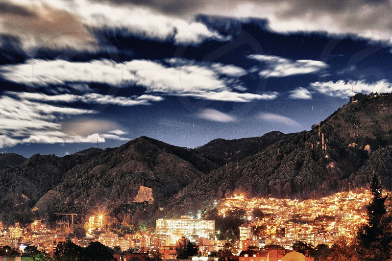 Mountain  the city at nigth photo