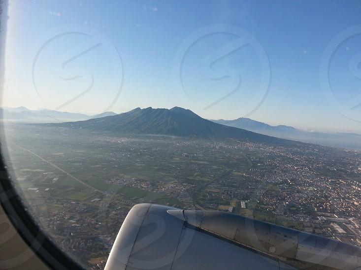 NaplesItalyMt. VesuviusVolcanoAirplane Window photo