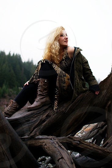 womens brown leather calf boots photo