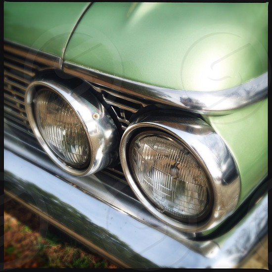 Headlights of antique ford car photo