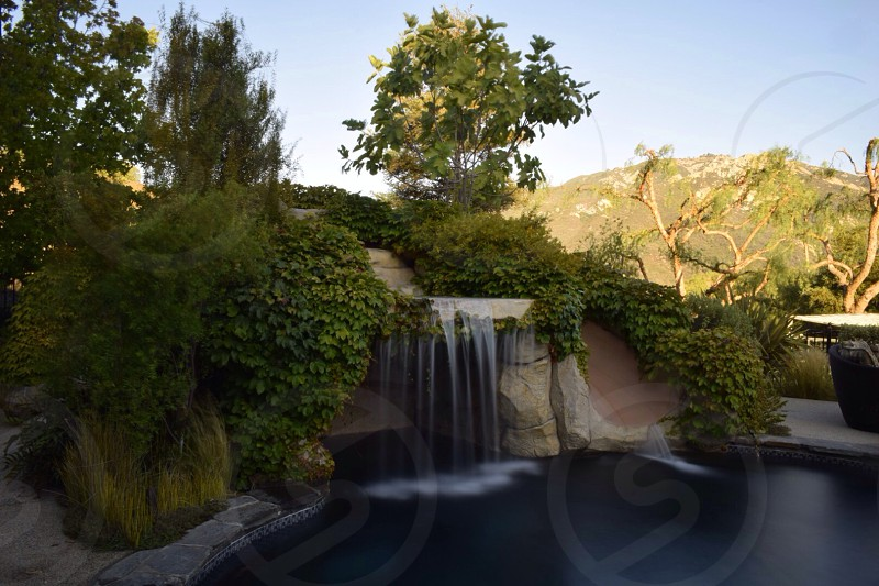 waterfall and green shrubs during daytime photo