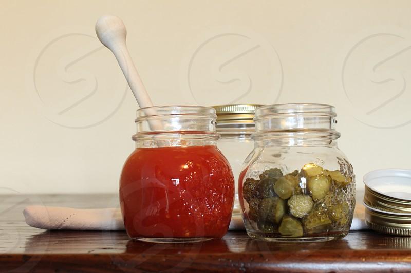 3 clear glass jar photo