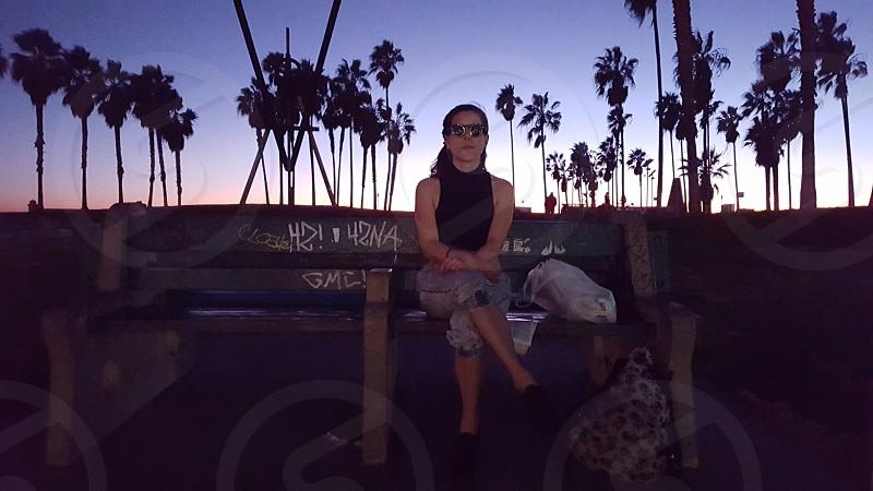 Sunset in Venice Beach California. photo