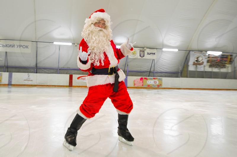 Ice skating Santa photo