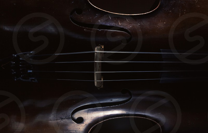 Abstract of an old cello accentuated shapes and texture.  photo