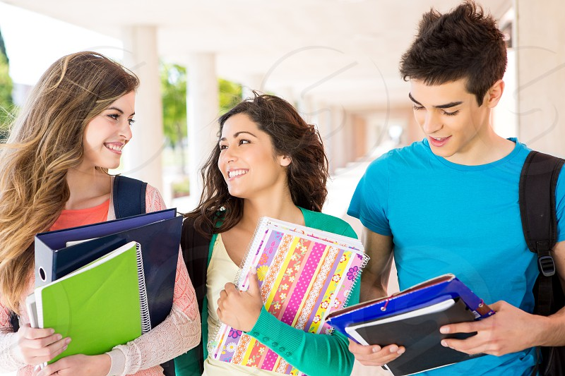 friends student school academic books studying photo