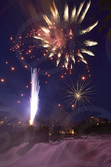 Swiss national day celebrated at the origin of the Rhein river in Schaffhausen with  fireworks display photo