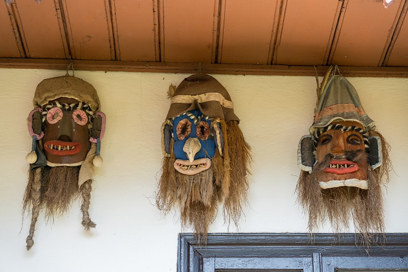 TARPESTI MOLDOVIA/ROMANIA - SEPTEMBER 19 : Face masks in the Neculai Popa Ethnographic Museum in Tarpesti in Moldovia Romania on September 19 2018 photo