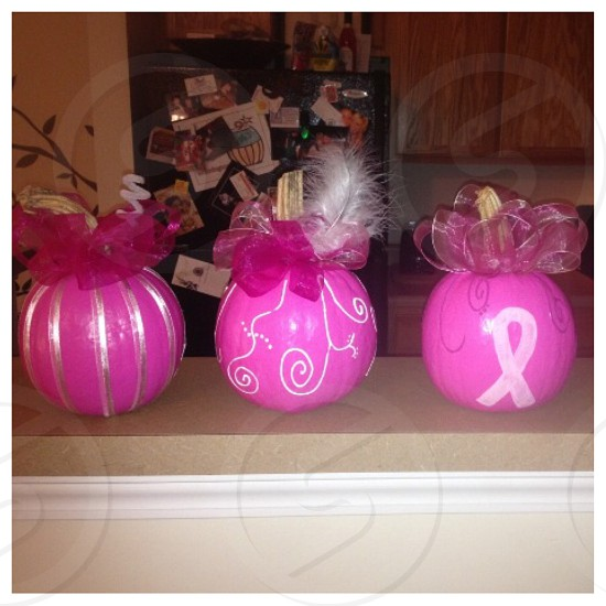 Breast Cancer Awareness Pumpkins for the month of October.   photo