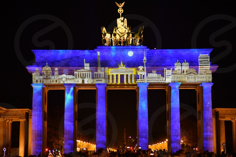 My hometown Berlin projected on to the Brandenburg gate in Berlin. photo