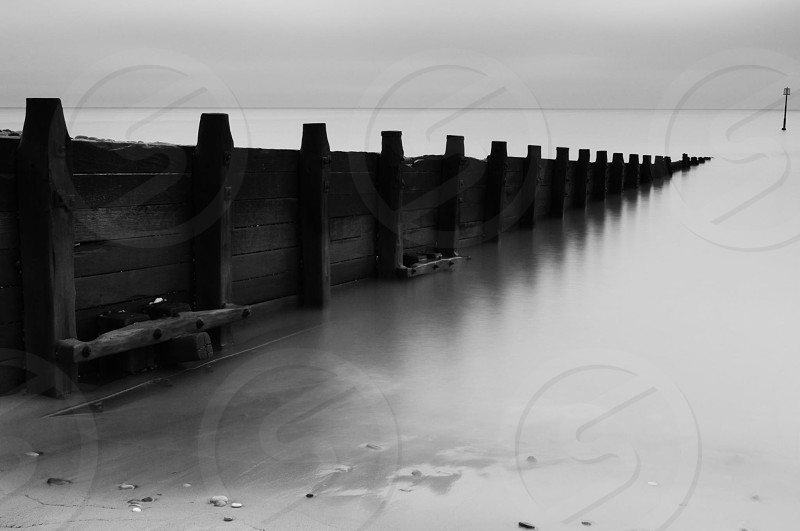 Beach black and white long shutter peaceful photo