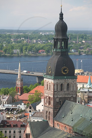 the view over the city of riga in latvia in the baltic region in europe. photo