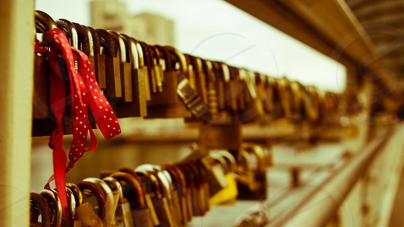 Chainlocks on the bridge Langebro in Copenhagen Denmark. photo