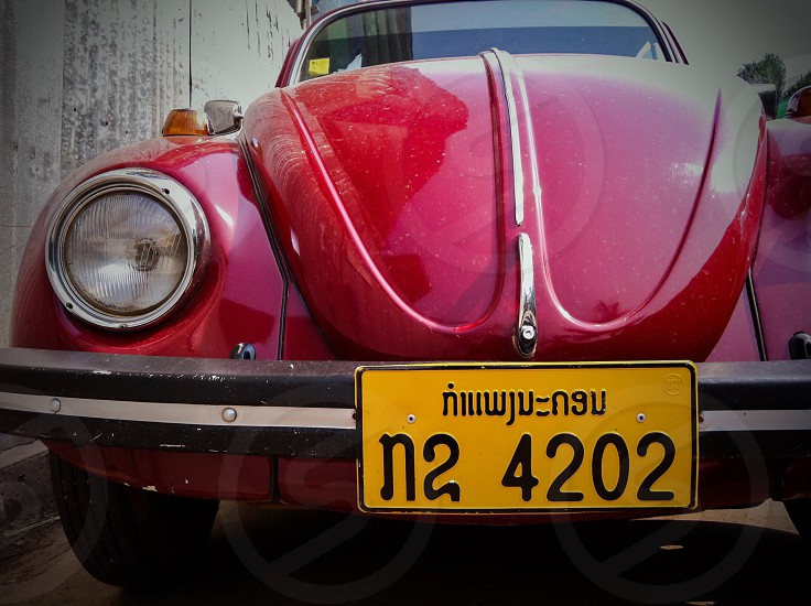 plate number license number plate license car red yellow volk swagen vintage classic vehicle retro Lao laos Vientiane Asia plate license automobile auto motor past antique ancient Germany photo