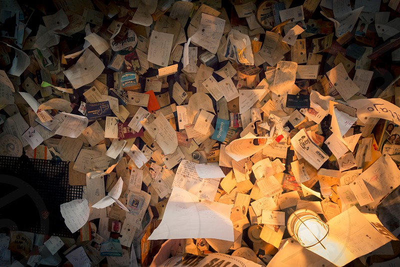 Scattered papers - Many papers newspaper clippings letters and more scattered on the ceiling photo