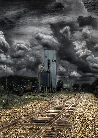 building scenery storm clouds Sky scary eerie abandoned Arkansas  photo