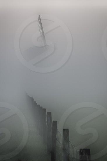 lines windmill mist photo