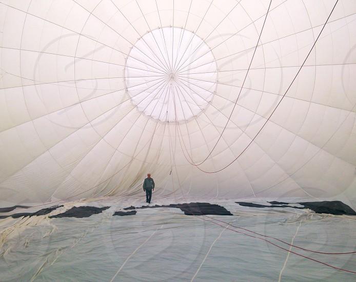 man in white hot air balloon photo