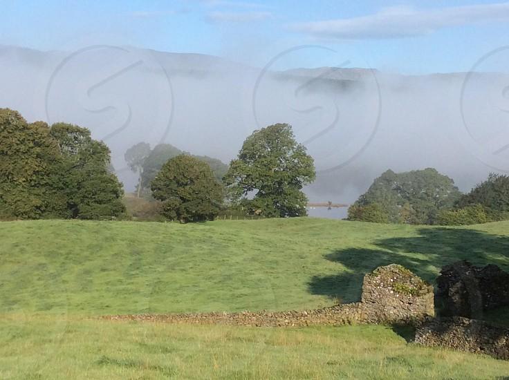 Cumbria.near Sawrey. A misty summer morn. photo