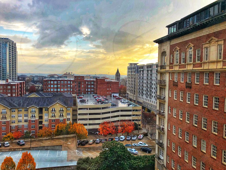 Atlanta sunrise fall morning Golden hour buildings city landscape trees leaves orange yellow  photo