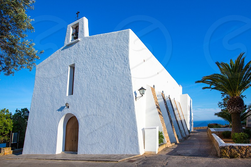 Ibiza Es Cubells church in san Jose at Balearic Islands of spain photo