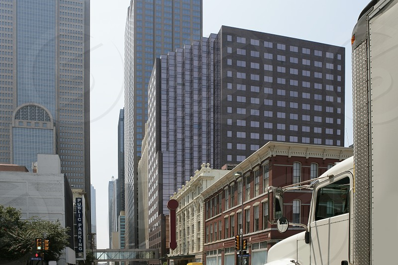 Dallas downtown city views with mixed buildings urban background photo