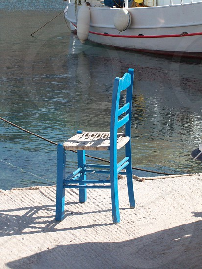 Pensive - Thought of the day - let the world go by! - idilic! - blue chair - Greece photo