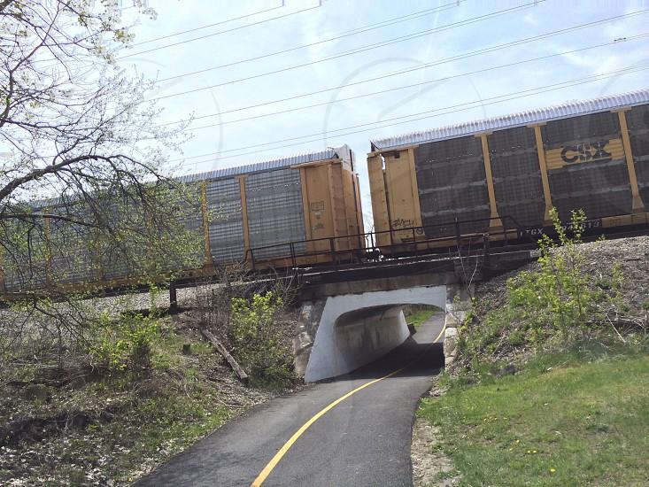 Train bike trail tunnel photo