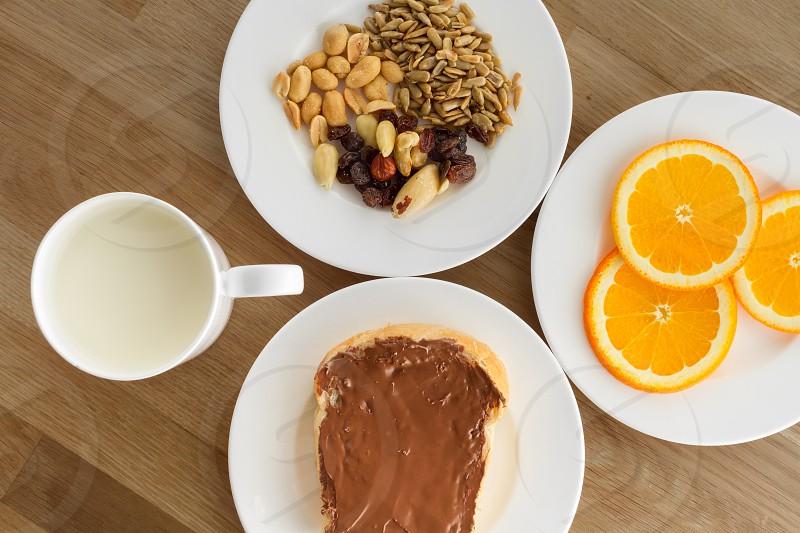 Healthy sweet breakfast on wooden countertop photo
