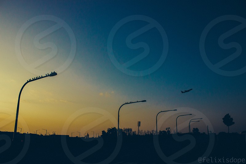 Sun setting by O'hare airport in Chicago IL photo
