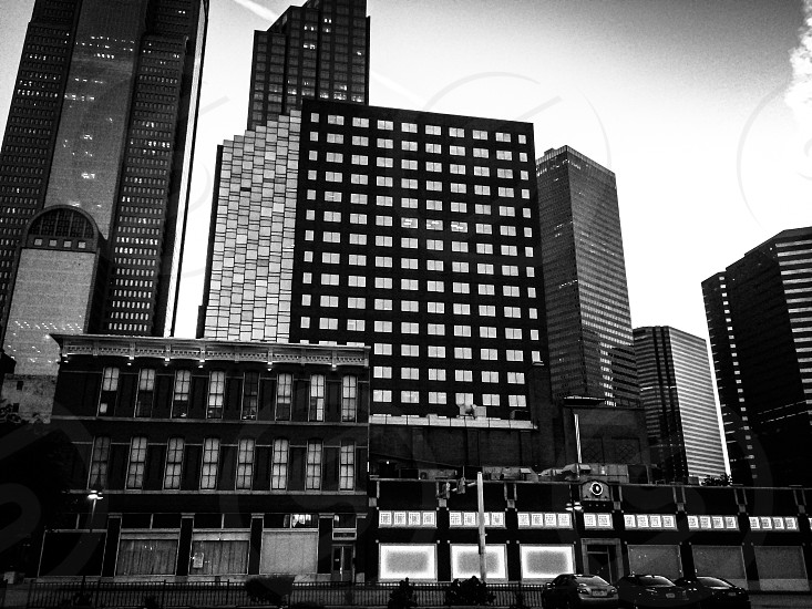 Dallas Texas city cityscape downtown urban black and white tall buildings skyline  photo
