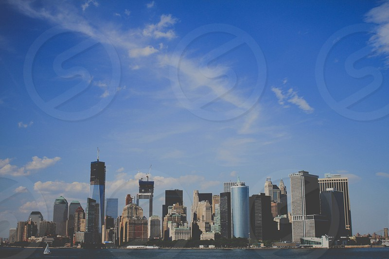City scape photo with blue sky photo