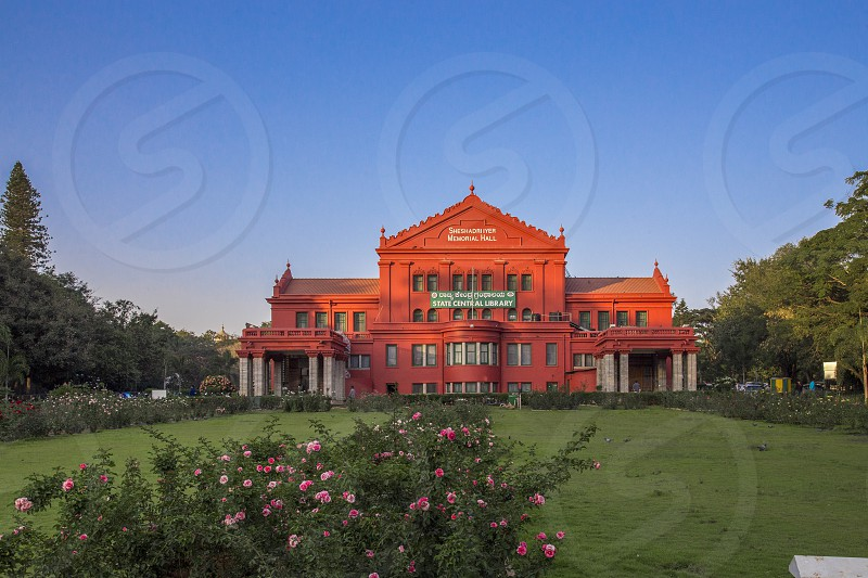 Cubbon Park Library Central libraryBangalore Red Building Park Garden Evening. photo
