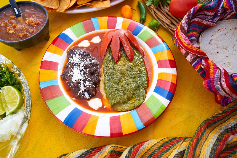 Mexican Nopal filled recipe with sauces from Mexico photo
