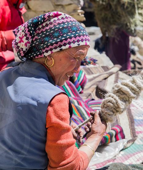 Weaving nak fur. photo