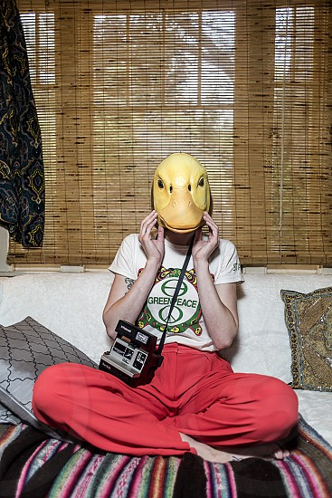 yellow duck face mask  photo