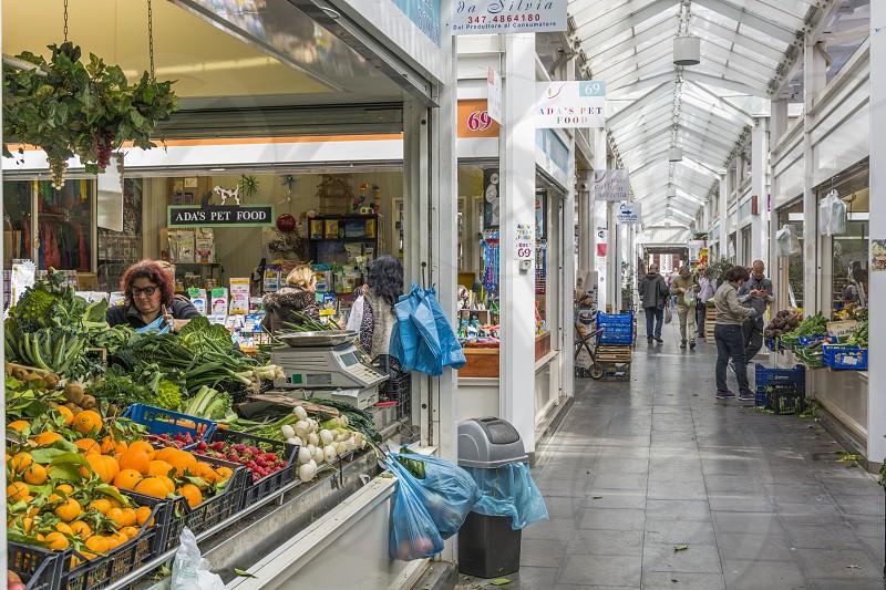 interior of the New Mercato Testaccio with food stall photo