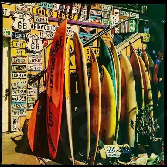 Outdoor day square colour bright vibrant vivid boards surf surfboards Pismo beach California USA surfing photo