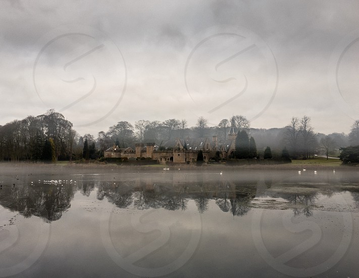 Misty day over the lake at Newstead Abbey photo