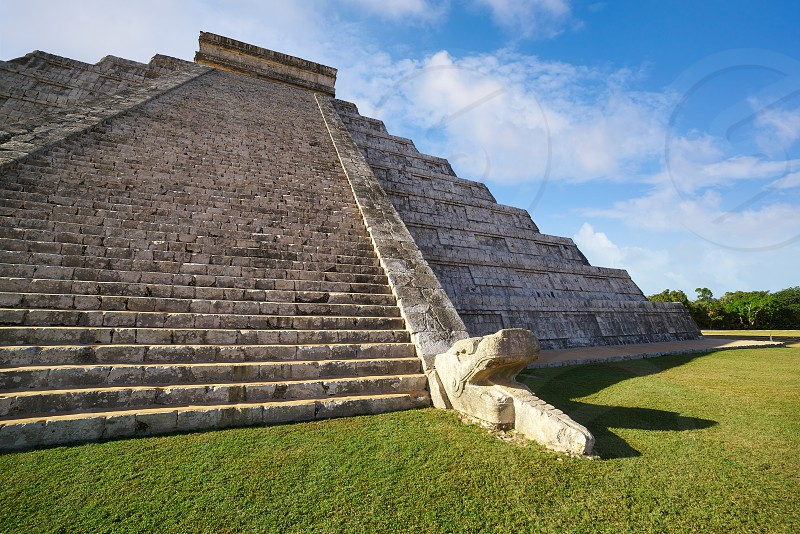 Chichen Itza pyramid snake El Templo Kukulcan temple in Mexico Yucatan photo