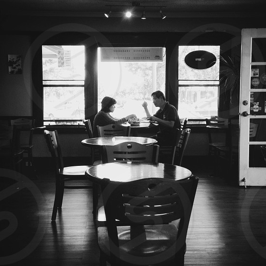 couple eating on a table view  photo