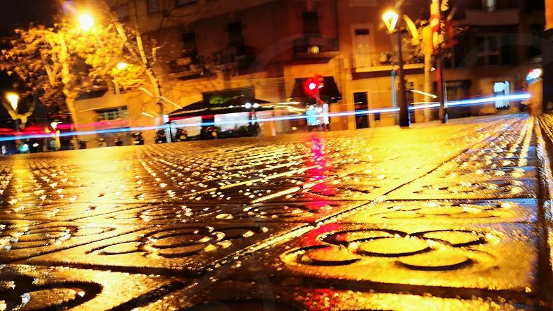 Barcelona panots rainyday lights photo