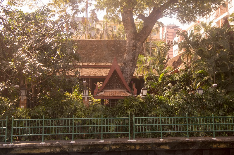 the architecture of Jim Thompson House at Siam Square in the city of Bangkok in Thailand in Southeastasia.  Thailand Bangkok November 2018 photo