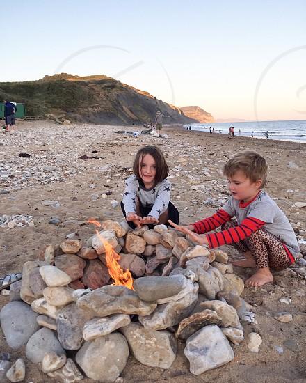 Kids children beach summer chilly fire campfire bbq childhood youth sea  photo